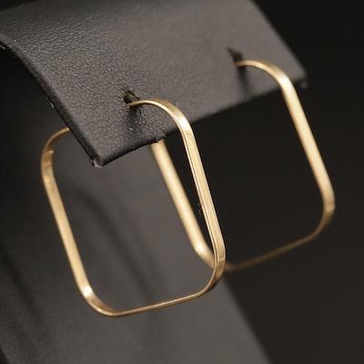 14K Rounded Square Hoop Earrings