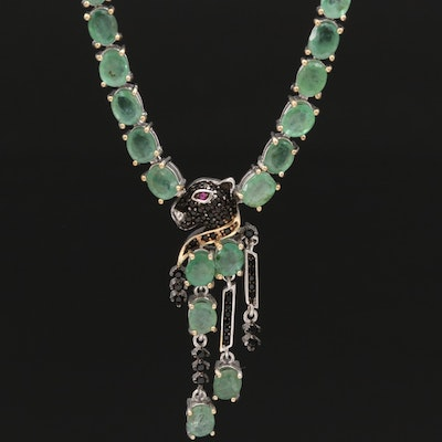 Sterling Emerald, Ruby and Cubic Zirconia Panther Head Necklace