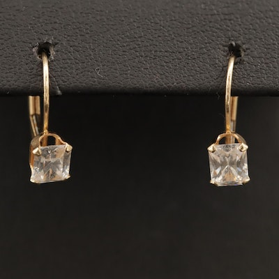 14K Cubic Zirconia Drop Earrings