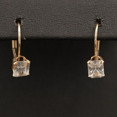 14K Cubic Zirconia Drop Earrings