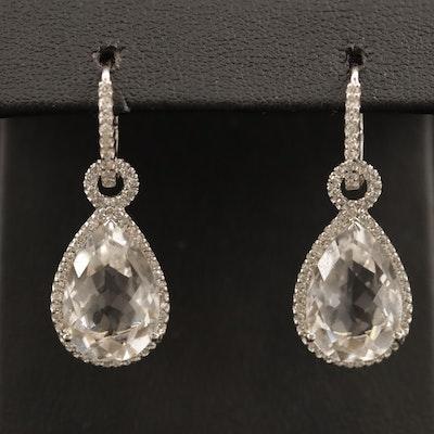 14K Rock Quartz Crystal Dangle Earring with Diamonds