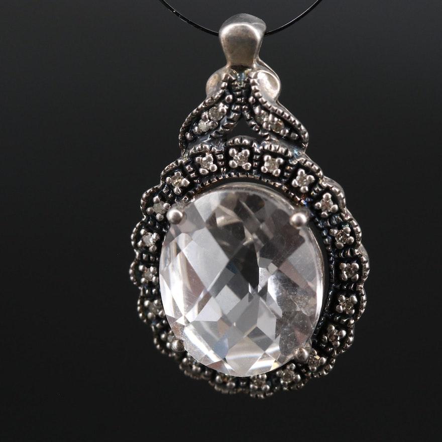 Sterling Silver Rock Quartz Crystal and Diamond Pendant