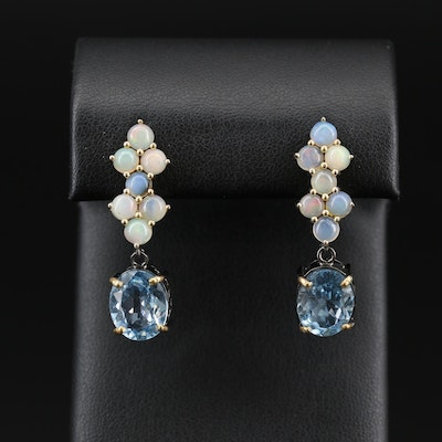 Sterling Silver Opal and Topaz Drop Earrings