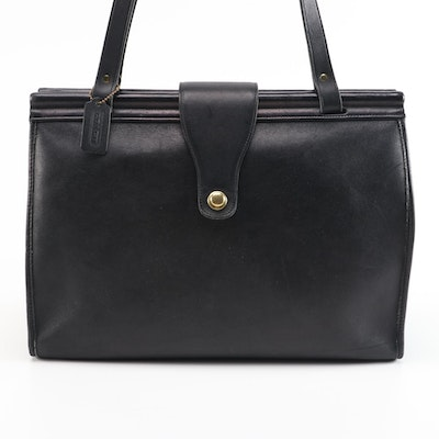 Coach Black Leather Barkley Briefcase Tote Bag