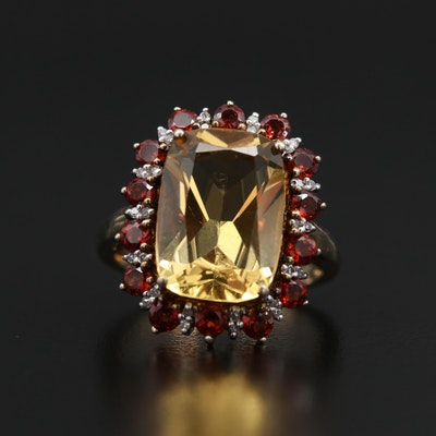 Sterling Silver Citrine, Garnet and Diamond Halo Ring