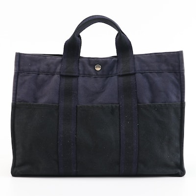 Hermès Fourre Tout Navy and Black Canvas MM Tote Bag