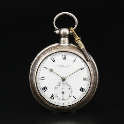 J. Mitchell & Son Sterling Silver English Double Case Pocket Watch, Circa 1922