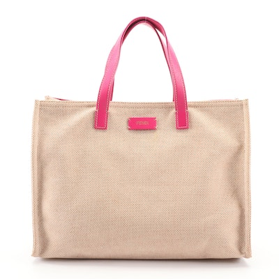 Fendi Canvas Tote with Hot Pink Leather Trim and Accessory Pouch