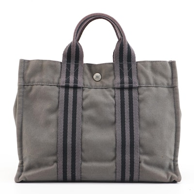 Hermès Fourre Tout Gray and Black Cotton Canvas PM Mini Tote