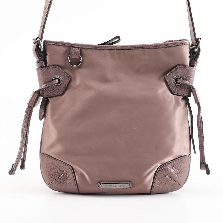 Burberry Nylon and Metallic Leather Crossbody Bag