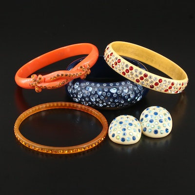 1950s Thermoset Plastic Jewelry Featuring Weiss Clamper Bracelet and Earrings