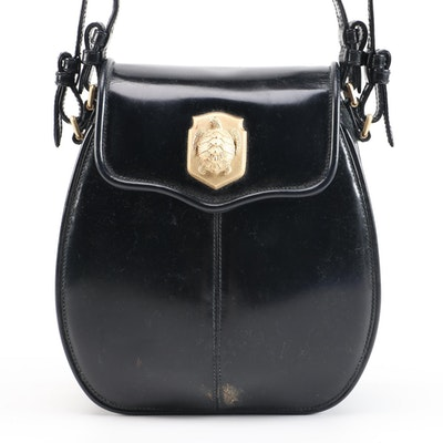 Kieselstein-Cord Black Patent Leather Crossbody Bag with Turtle Shield