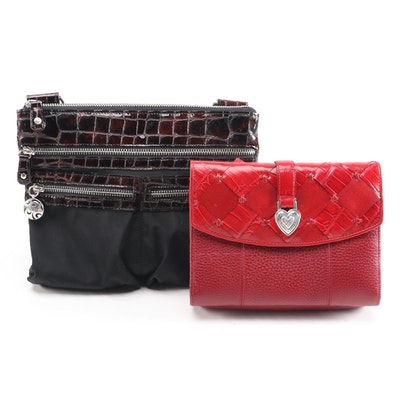 Brighton Crocodile Embossed and Pebble Leather Crossbody Bags