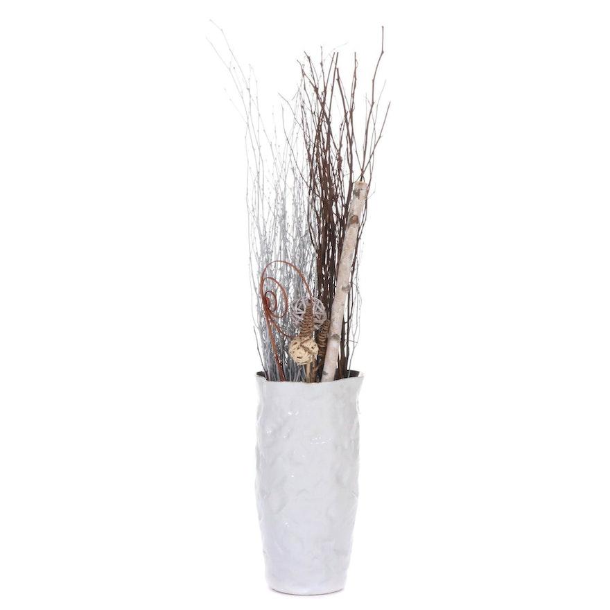 White Ceramic Floor Vase with Faux Plants