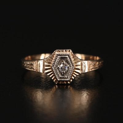 Art Deco 10K Diamond Baby Ring
