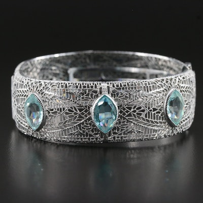 Glass Filigree Hinged Bracelet
