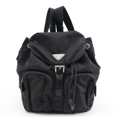 Prada Black Vela Nylon Drawstring Backpack with Patent Leather Trim