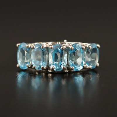 Sterling Silver Blue Topaz Heart Motif Ring