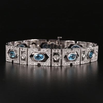 10K Topaz and Diamond Panel Bracelet