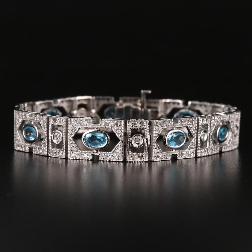 10K Topaz and Diamond Panel Bracelet