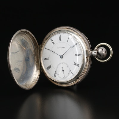 .935 Silver Longines Hunting Case Pocket Watch