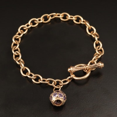 Sterling Silver Cable Chain Bracelet with Pink Sapphire Charm