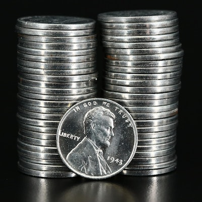 Roll of Fifty WWII Steel Lincoln Wheat Cents, 1943