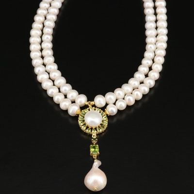 Sterling Silver Pearl and Peridot Necklace