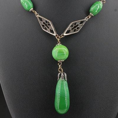 Art Deco Drop Station Necklace