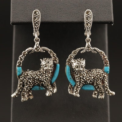 Sterling Silver Jaguar Motif Front Facing Hoop Earrings
