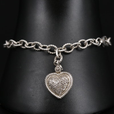 Sterling Silver Cable Link Bracelet with Diamond Heart Charm