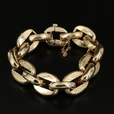 18K Cable Chain Bracelet with Hammered Finish Accents