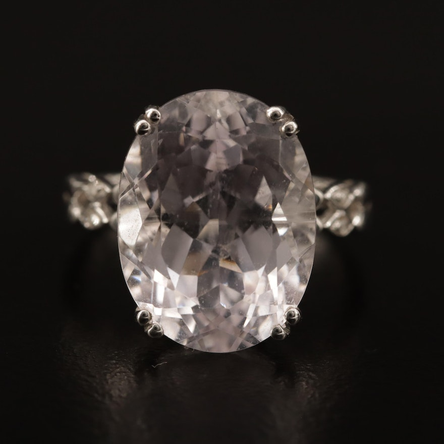 14K Kunzite and Diamond Ring