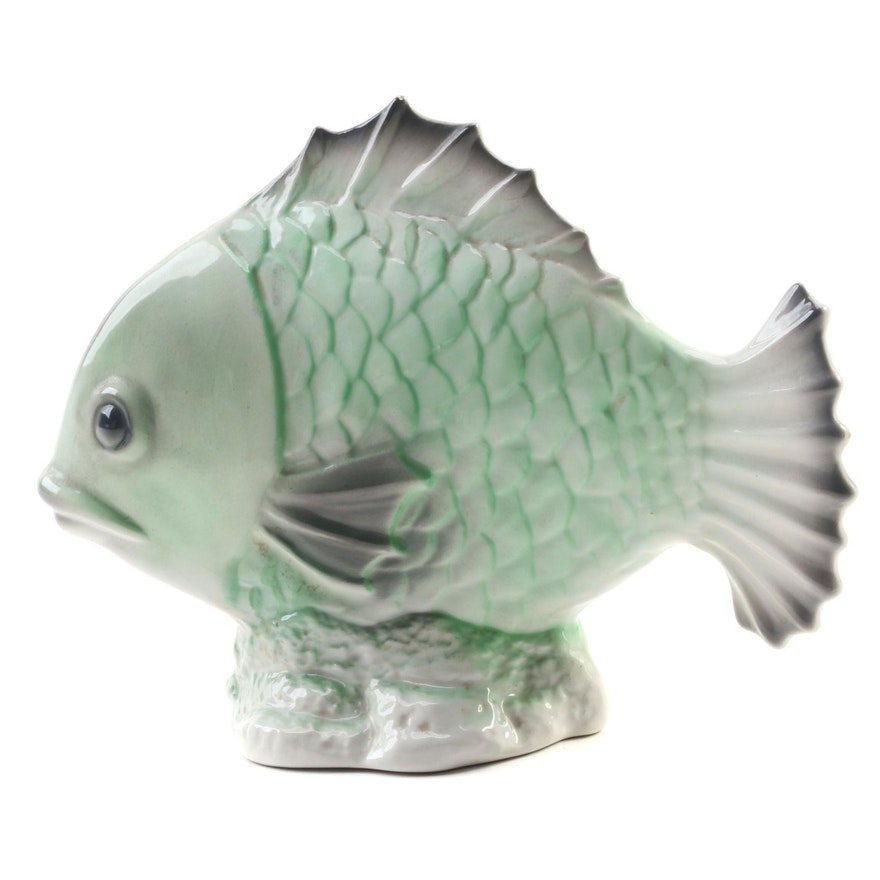 ELPA Alcobaça Pottery Hand-Painted Ceramic Fish Figurine