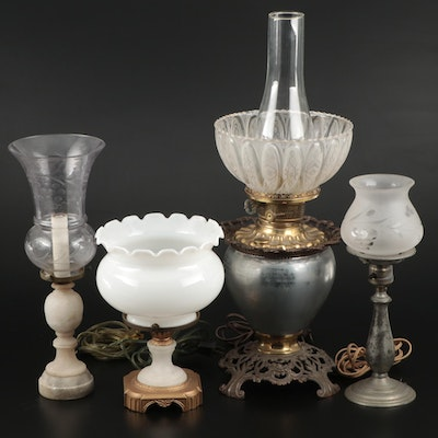 Metal, Stone and Glass Table Lamps and Shades, Late 19th to Early 20th Century