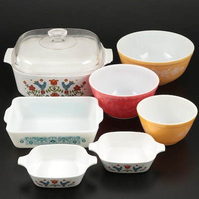 "CorningWare ""Country Festival"" with Pyrex Cookware and Bowls"