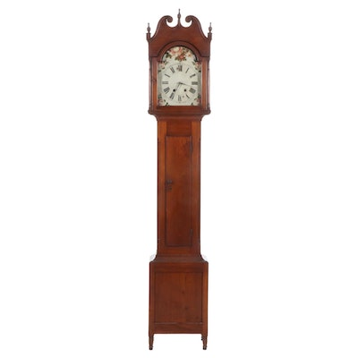 Federal Walnut Tallcase Clock with Painted Metal Face, Early 19th Century