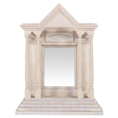 Handcrafted Neoclassical Mirrored Display Shelf
