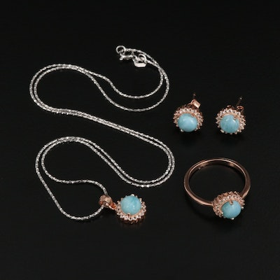 Sterling Silver Larimar and Topaz Earrings, Ring and Necklace