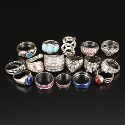 Sterling Silver Rings Featuring Carolyn Pollack, Larimar and Blue Topaz
