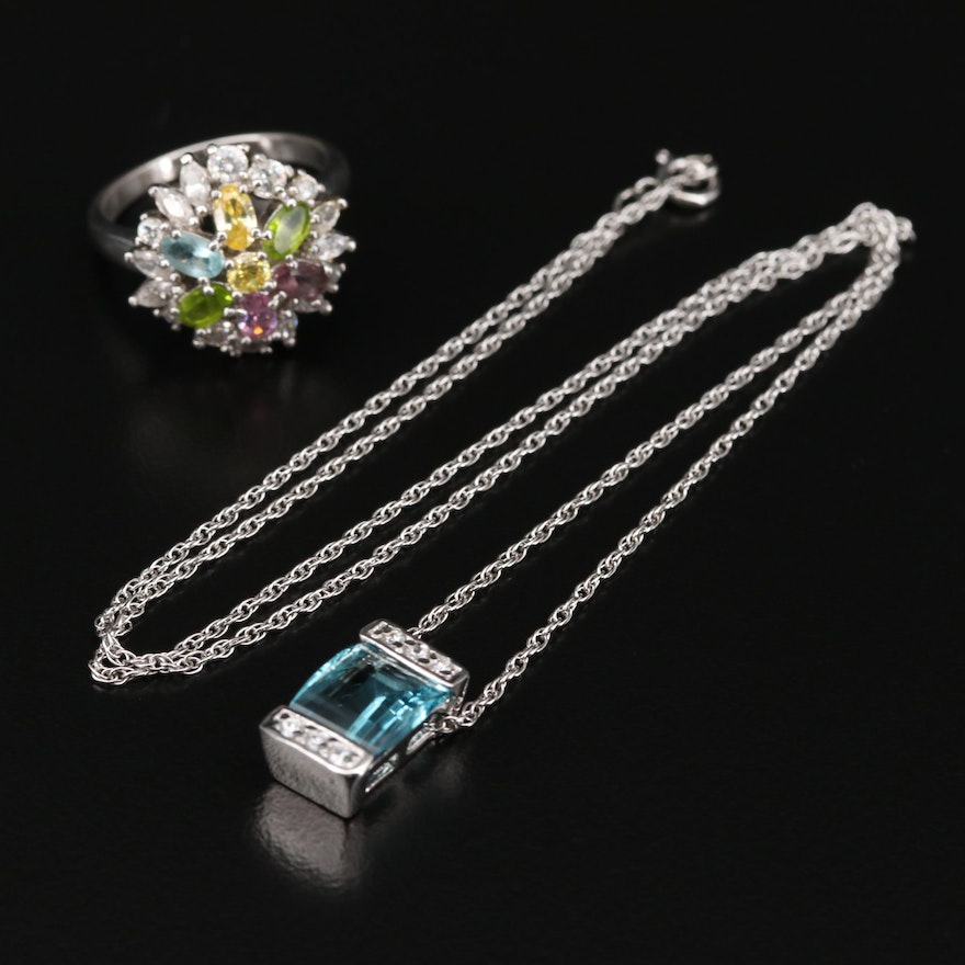 Sterling Silver Cubic Zirconia and Glass Necklace and Ring