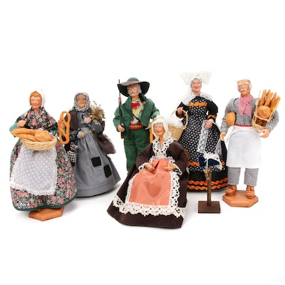 G. Devouassoux French Provence Santo Clay Folk Art Dolls