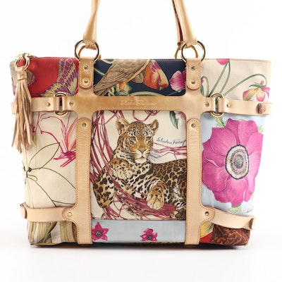 Salvatore Ferragamo Fiera Wildlife Safari Print Tote Bag