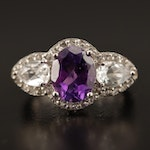 Sterling Silver Amethyst and Topaz Ring with Scroll Motif
