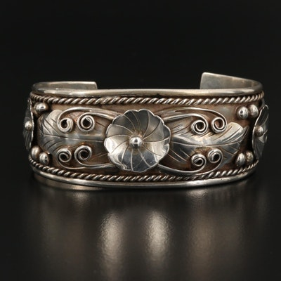 Vintage Fred James Navajo Diné Sterling Cuff Bracelet with Floral Appliqué