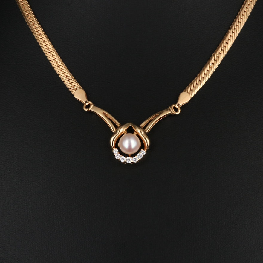 18K Pearl and Cubic Zirconia Necklace