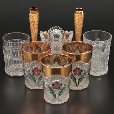 EAPG Pressed Glass Tumblers Including Gilt Rims and Gilt Vases