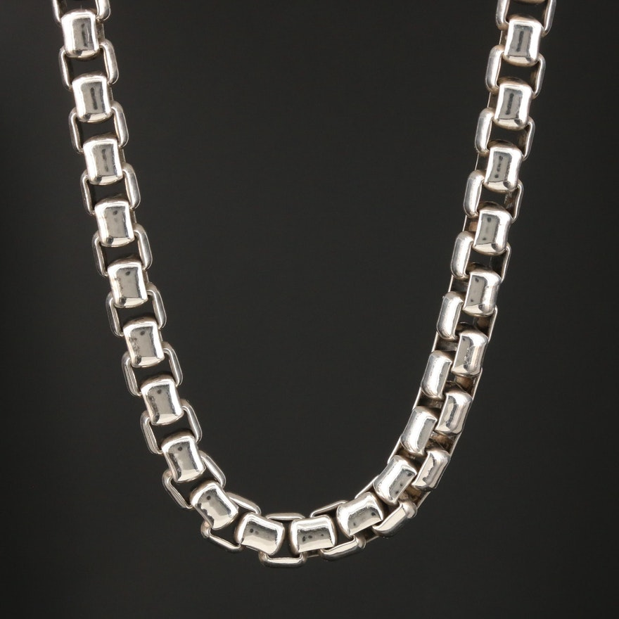 David Yurman Sterling Silver Box Chain Link Necklace
