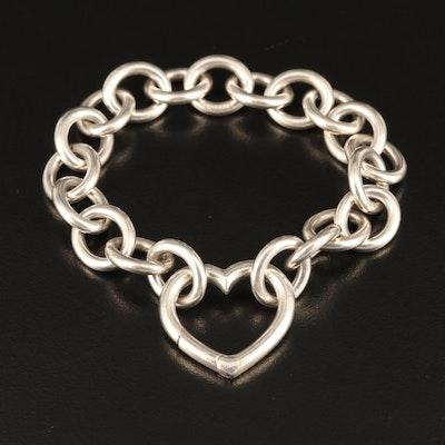 Tiffany & Co Sterling Heart Charm Bracelet