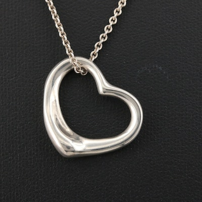 """Elsa Peretti for Tiffany & Co. Sterling """"Open Heart"""" Pendant Necklace with Pouch"""